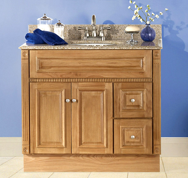 Heritage oak bath vanity builders surplus - Bathroom cabinets builders warehouse ...