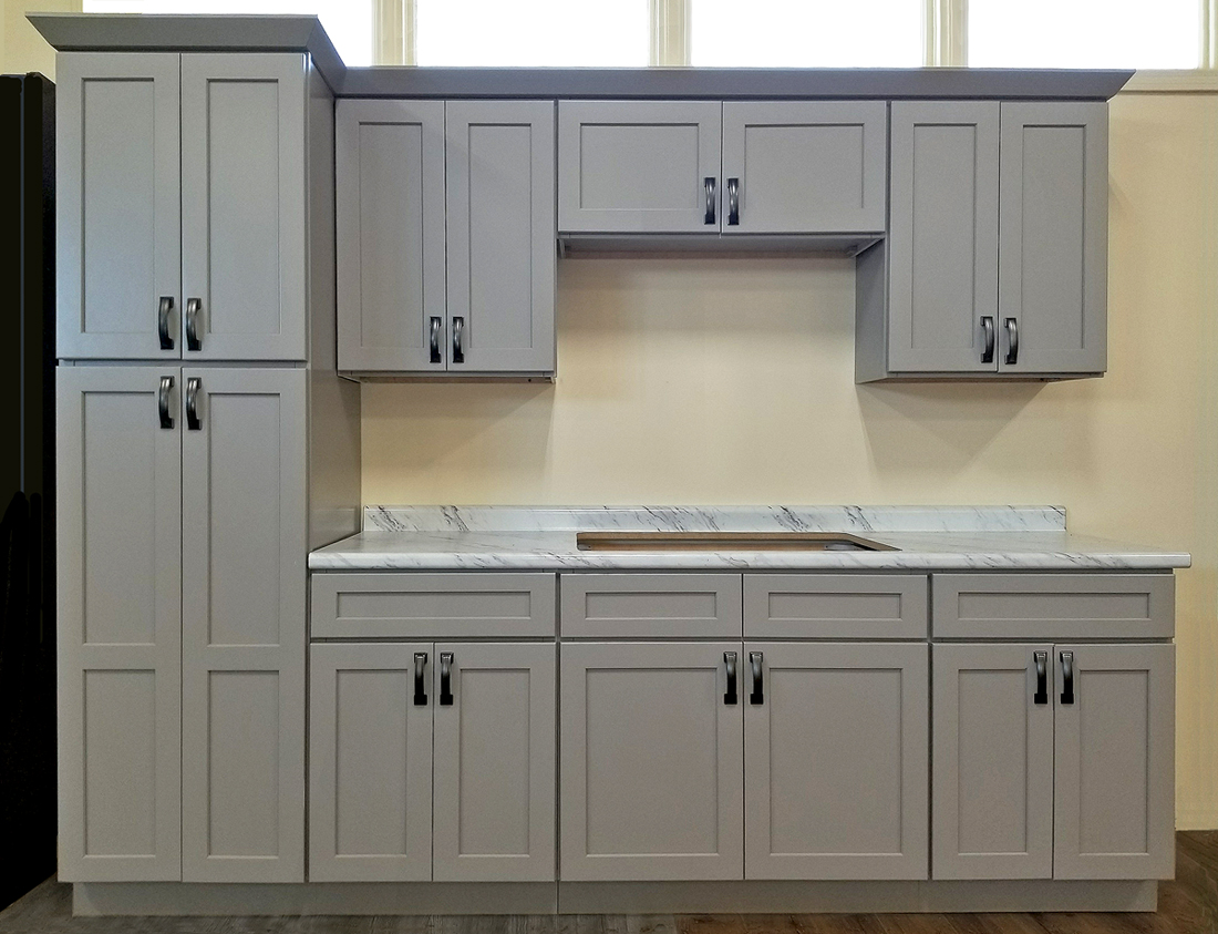 Stone harbor gray kitchen cabinets builders surplus for Cabinetry kitchen cabinets