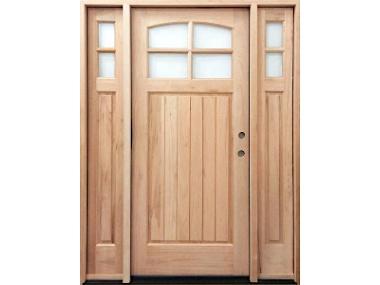 Mahogany 4 Lite Arch Top Craftsman Door $1,399