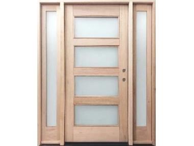 Mahogany Contemporary Horizontal 4 Lite Door $1,399